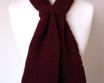 GetWoolly, rich, deep, berry, wine, burgundy, handknitted scarf, Fishermans knit, chunky