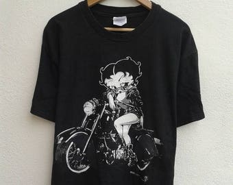 ON SALE 4 Vintage 90s Betty Boop Motorcycle Club Funny Cartoon Rocky Cafe Racer T-Shirt