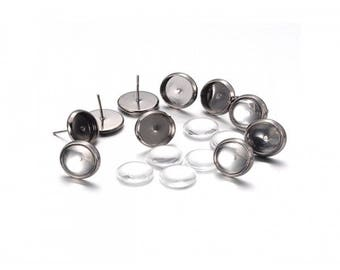 10 Stud Earrings gunmetal tray cabochon 10mm and 10 glass cabochons 10mm