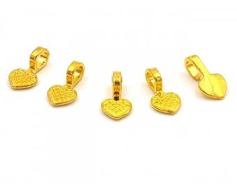 20 bails to paste 16mm gold plated hearts
