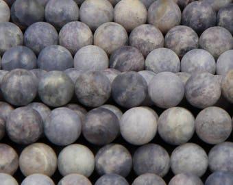 """Natural Iolite 8mm Matte Round Beads, 10mm Matte Round Beads, 12mm Matte Round Beads, 14mm Matte Round Beads 16"""" Strand"""