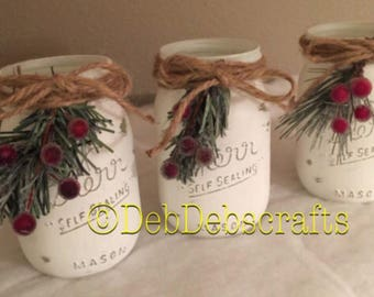 Christmas Mason Jar Centerpieces Rustic Decor Decorations Farmhouse Mantle