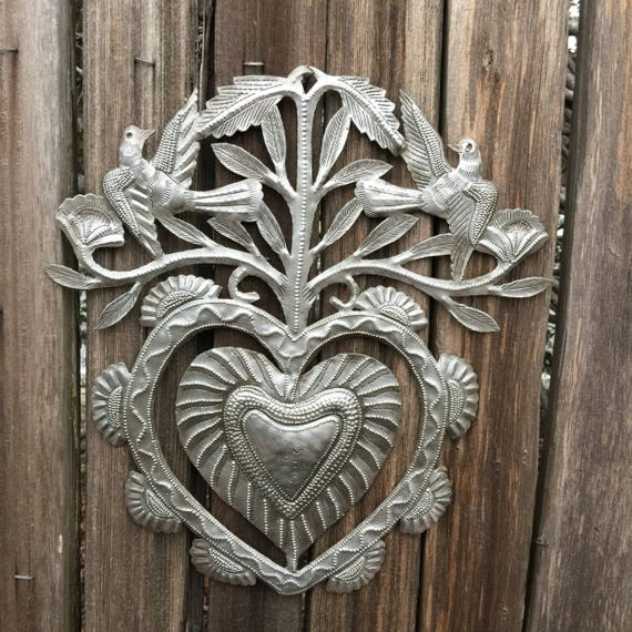 "Floral Garden Heart, Erzuli, Recycled Steel Art made in Haiti, Hand Cut in Haiti 11.5"" x 11"""