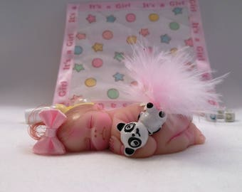 "Polymer Clay Baby Girl With Her Favorite Raccoon "" BABY SIZE 2.5"" Gift, Collectible, Keepsake, Memorial, Baby Shower, Cake Topper, Shelf"