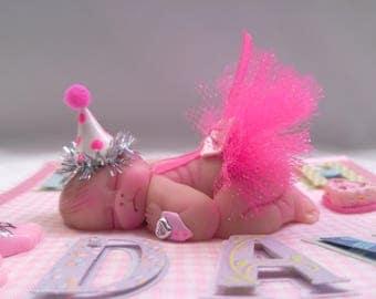 "Polymer Clay Baby ""Birthday Smash"" Happy Birthday Baby Girl, Size 2.5"", Gift, Collectible, Keepsake, 1st Birthday, Baby Shower, Photo Props"