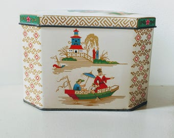 Vintage Daher Asian Tin // Tea Tin // Vintage Tea Tin //