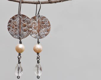 Mixed metal earrings, Pearl earrings, Crystal earrings, Handmade Copper earrings, Copper jewelry, Bohemian Rustic earrings Boho jewelry Gift