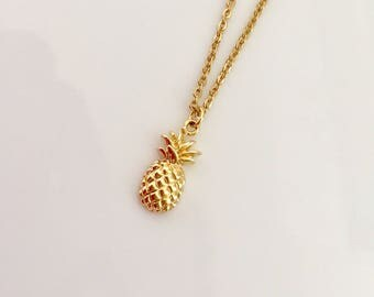 Gold Pineapple Necklace, Small Charm Necklace, Minimalist Necklace, Layering Necklace