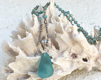 SOLD!   GORGEOUS Turquoise ocean glass!