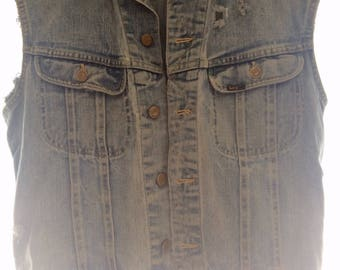 Distressed Vintage Lee Denim Cut-off Vest
