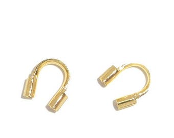 ON SALE 50 Count Gold Plated 5mm x 5mm Wire Guardians, Wire Protectors (WG-55-G)