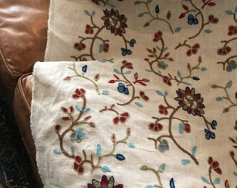 Linen Fabric With Embroidered/Crewel Flowers---4 Yards---56 inches wide
