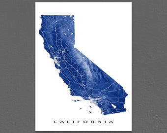 California Map, California State Art Print, California USA, State Outline Map