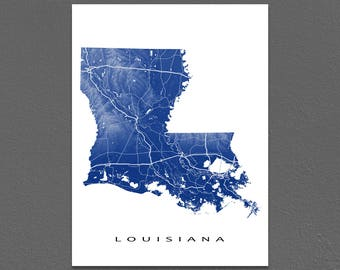 Louisiana Map Print, Louisiana State Art, LA, USA, New Orleans