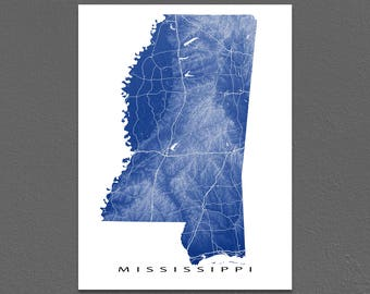 Mississippi Map Print, Mississippi State Art, USA, Jackson