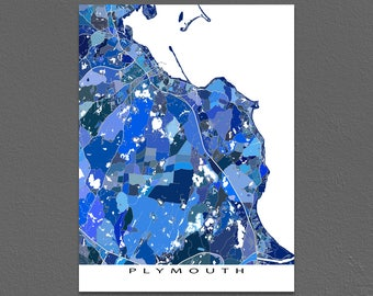 Plymouth Map Print, Plymouth Massachusetts, City Art Maps, Blue