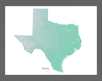 Texas Map Print, Texas State, Aqua, TX Landscape Art