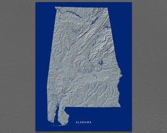 Alabama Map, Alabama Wall Art, AL State Art Print, Landscape, Navy Blue