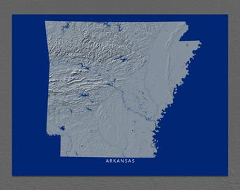 Arkansas Map, Arkansas Wall Art, AR State Art Print, Landscape, Navy Blue