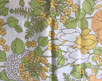 Vintage Floral Pillow Case Green and Orange Pattern Retro Bed Linen