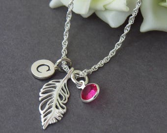 Sterling Silver Feather charm Necklace, Silver Feather Pendant, Personalised Birthstone Initial Feather Jewelry, Memorial Necklace