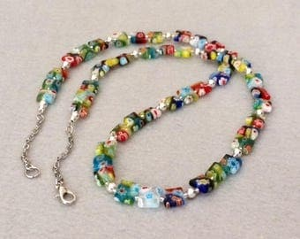 Colorful Millefiori Necklace Bright Multi Color Necklace Long Beaded Necklace Layering Necklace Rainbow Glass Necklace Boho Chic Necklace