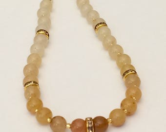 Beaded Neutral Necklace Amber Ombre Necklace Neutral Ombre Beaded Necklace Beaded Gemstone Necklace Short Necklace Dainty Bead Necklace Gift