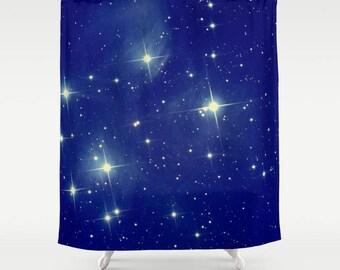 Stars Shower Curtain Starry Night Shower Curtain Starry Sky Shower Curtain Astronomy Shower Curtain Galaxy Shower Curtain