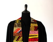 """African Clergy Stole #257, Pastor, Minister, 54"""" Length, African Fabrics, Multi Colors, Vestments, Church"""