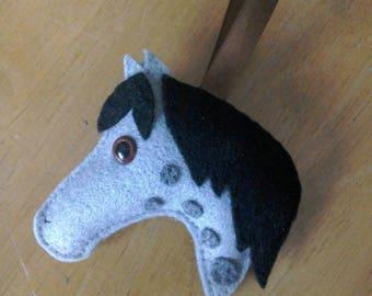 Felt Horse Christmas bauble in grey spot
