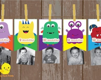 1 - 12 Month Monster Photo Banner | The Big One  | Monster Milestone banner | 1st Birthday Decorations | Little Monster Birthday | DIGITAL