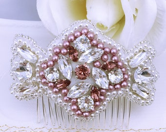 Bridal hair comb Pearl and Crystal