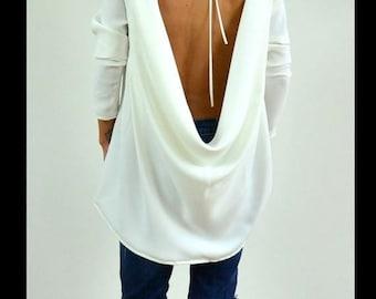 ON SALE Oversize Loose tunic / White maxi tunic / Open back blouse /Loose oversize top