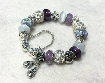 Genuine Pandora Bracelet ~ PURPLE CHRISTMAS ~ with European Style Beads