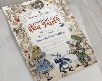 Alice in Wonderland Instant Download Birthday party Invite - Mad Hatters Tea Party Invitation