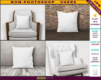 Square Decorative Pillow | Styled JPG Scenes | White Cotton Fabric Cushion on Wooden Floor | White Armchair | Non-Photoshop | M1 & M5