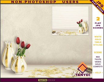 Table Styling   2 Styled JPG Scenes   Non-Photoshop   White Table Red Tulips   Gold Vases Confetti & Ribbon   Blank Empty wall