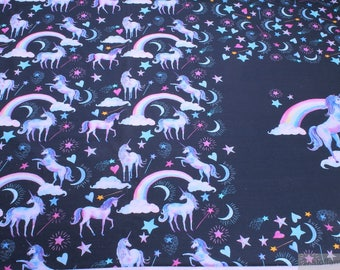 Magic moon fabric etsy for Space unicorn fabric
