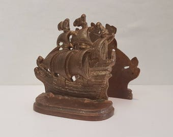 Solid bronze bookends tall ships