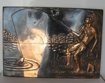 Vintage Soviet Decorative Copper Picture on a Wall. Embossing.