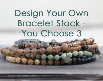 Custom gemstone bracelet stack, Rustic multi stone jewelry handmade, Set of 3, Unique gift for women, One of a kind present