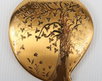 "1950's Elgin American Compact w Art Deco Heart Shape Tree and Flowers Embossed Design, Excellent VTG Cond., 3-3/8"" H X 3-5/16"" X 3/8"" D."