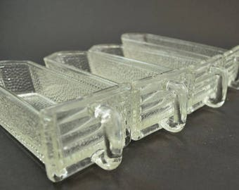 4 small German glass scoops / glass jars / glass drawers / pourer for kitchen cabinet / shabby / vintage