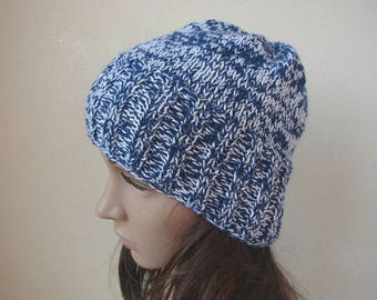 Knit hat blue white adult beanie, warm comfortable alpaca silk hat woman, knit in round hand knit hat Snowy Hill, knit hat man, teen beanie
