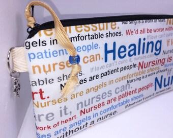 Nurse Waterproof Pouch, Utility Pouch, Wet Bag, Makeup Bag, RN Cosmetic Pouch, Pencil Case, Project Bag, PUL Lining, Caduceus Charm