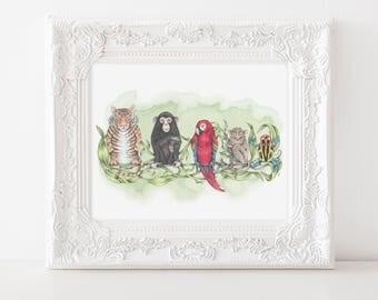 Jungle animal art print, Rainforest art, animal illustration, zoological art, animal art, tiger, chimp, macaw, tarsier, poison dart frog