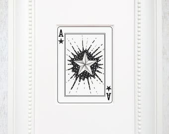Playing card art, Star illustration, Star ink art, Nautical star, Nautical star art, Ace, Ink illustration, Pen and ink, Star, Ace of Stars
