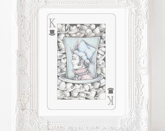 Mad hatter art, mad hatter, alice in wonderland art, hat art, we're all mad here, classic illustration, pop surreal art, playing card art