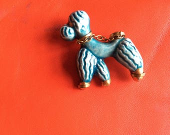 Poodle brooch ,1950s french,ceramic,collectable