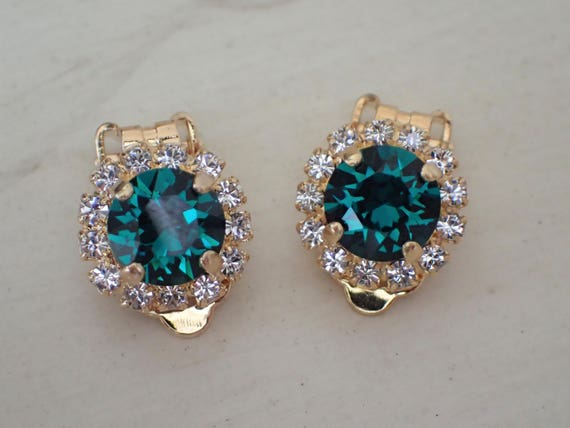 Swarovski Emerald & Clear Crystal Halo Clip On Earrings, Yellow Gold